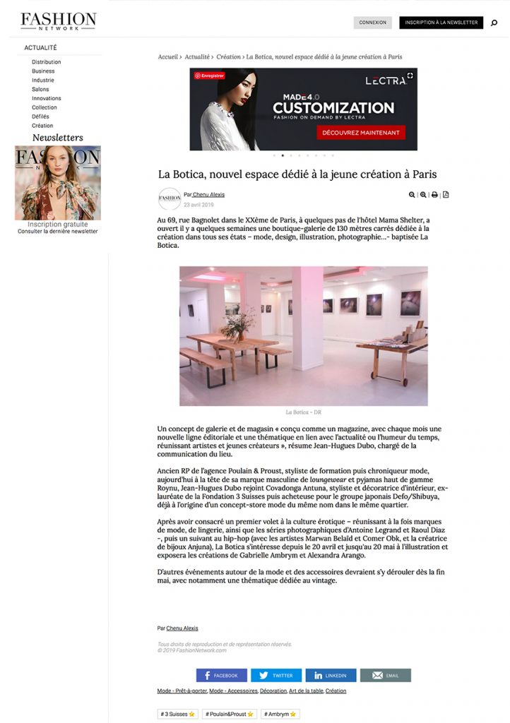 la Botica Paris, article Fashionnetwork