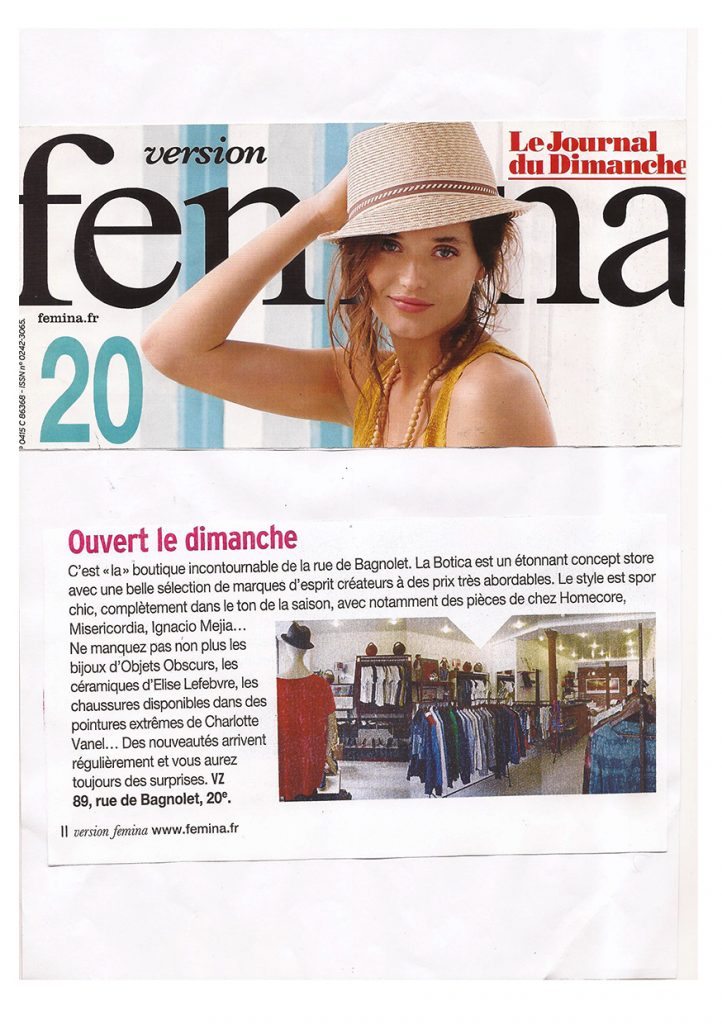 la Botica Paris, article Version Femina