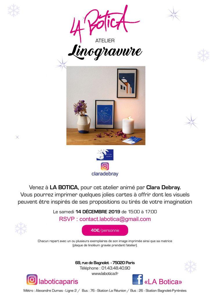 CLARA DEBRAY - Linogravure - Atelier de Noël