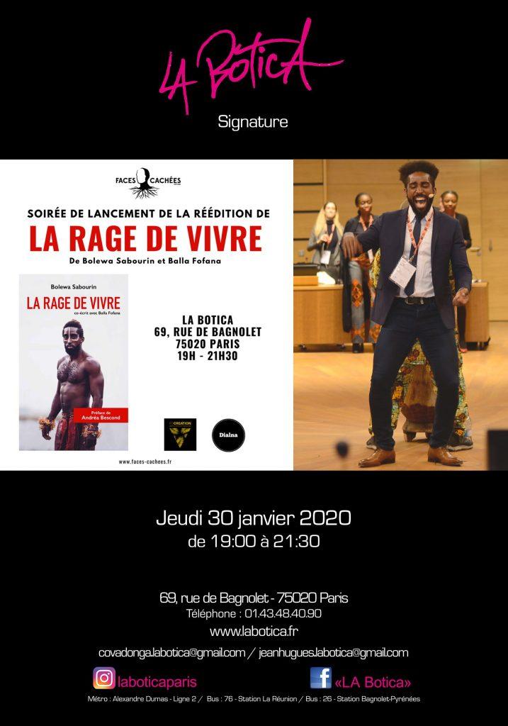 """Livre """"LA RAGE DE VIVRE"""" de Bolewa Sabourin"""