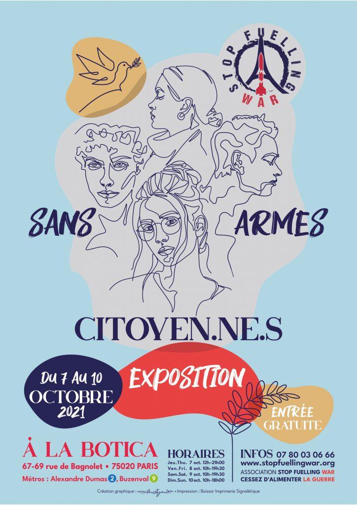 Affiche Expo - Sans Armes Citoyen.ne.s - Qu'est-ce qui nous protège ? - Labotica 2021
